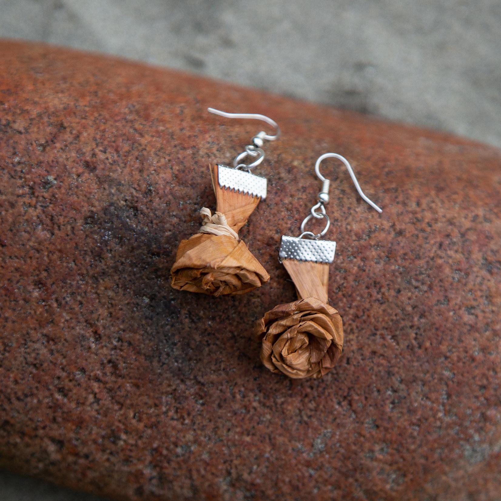 Elizabeth George rose earring woven cedar