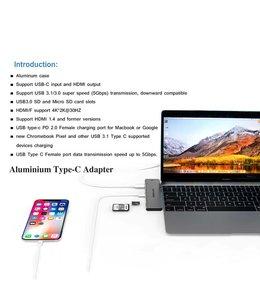 ATZEBE Aluminum Thunderbolt 3 USB-C  7 Port Hub
