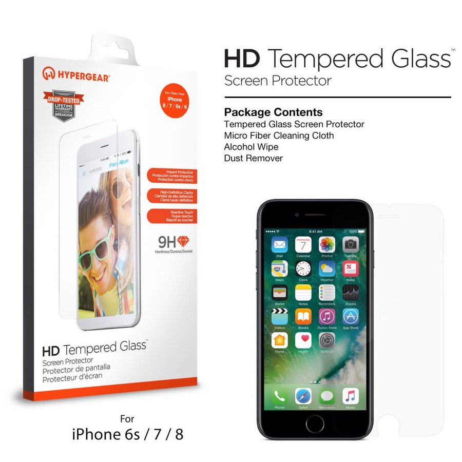 HyperGear Tempered Glass for iPhone 6 / 6s / 7 / 8