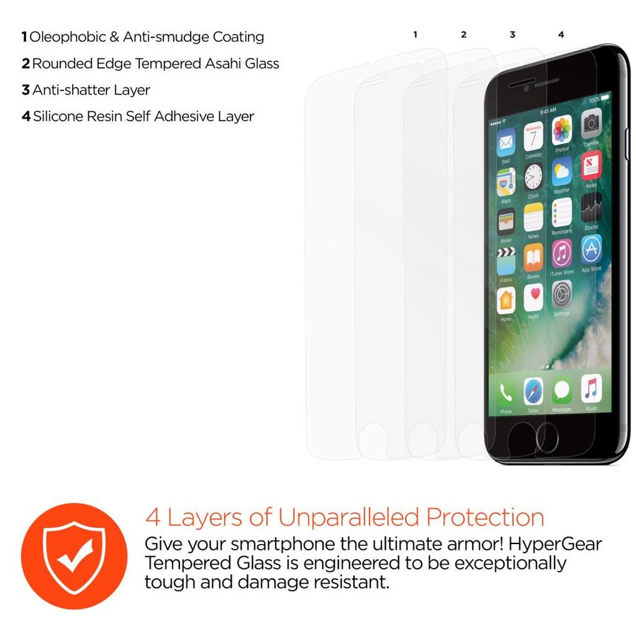 HyperGear Tempered Glass for iPhone 6 / 6s / 7 / 8 Plus