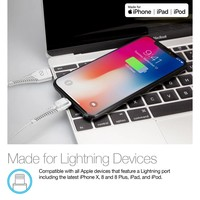 Rugged LED MFi Lightning Charge & Sync Cable - White