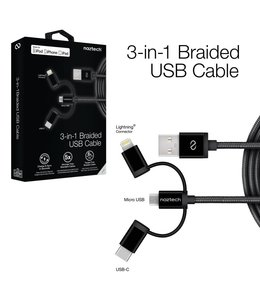 Naztech MFi Lightning Braided 3-in-1 Hybrid USB Cable - Black
