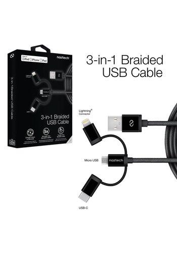 MFi Lightning Braided 3-in-1 Hybrid USB Cable - Black