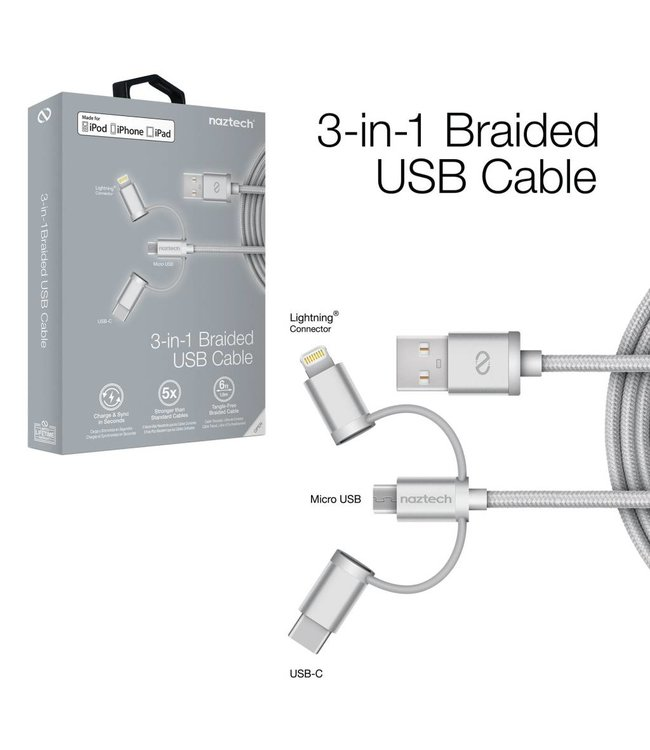 Naztech MFi Lightning Braided 3-in-1 Hybrid USB Cable - Silver