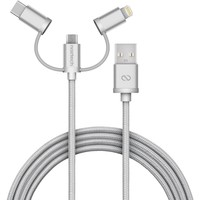 MFi Lightning Braided 3-in-1 Hybrid USB Cable - Silver