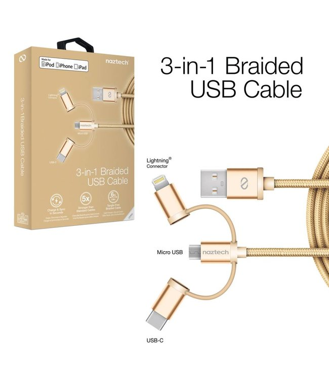 Naztech MFi Lightning Braided 3-in-1 Hybrid USB Cable - Gold