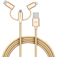 MFi Lightning Braided 3-in-1 Hybrid USB Cable - Gold