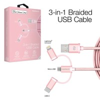 MFi Lightning Braided 3-in-1 Hybrid USB Cable - Rose
