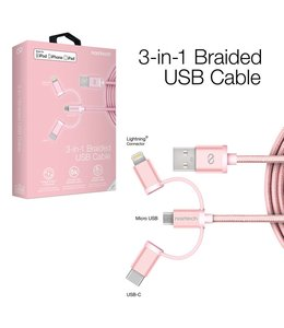 Naztech MFi Lightning Braided 3-in-1 Hybrid USB Cable - Rose