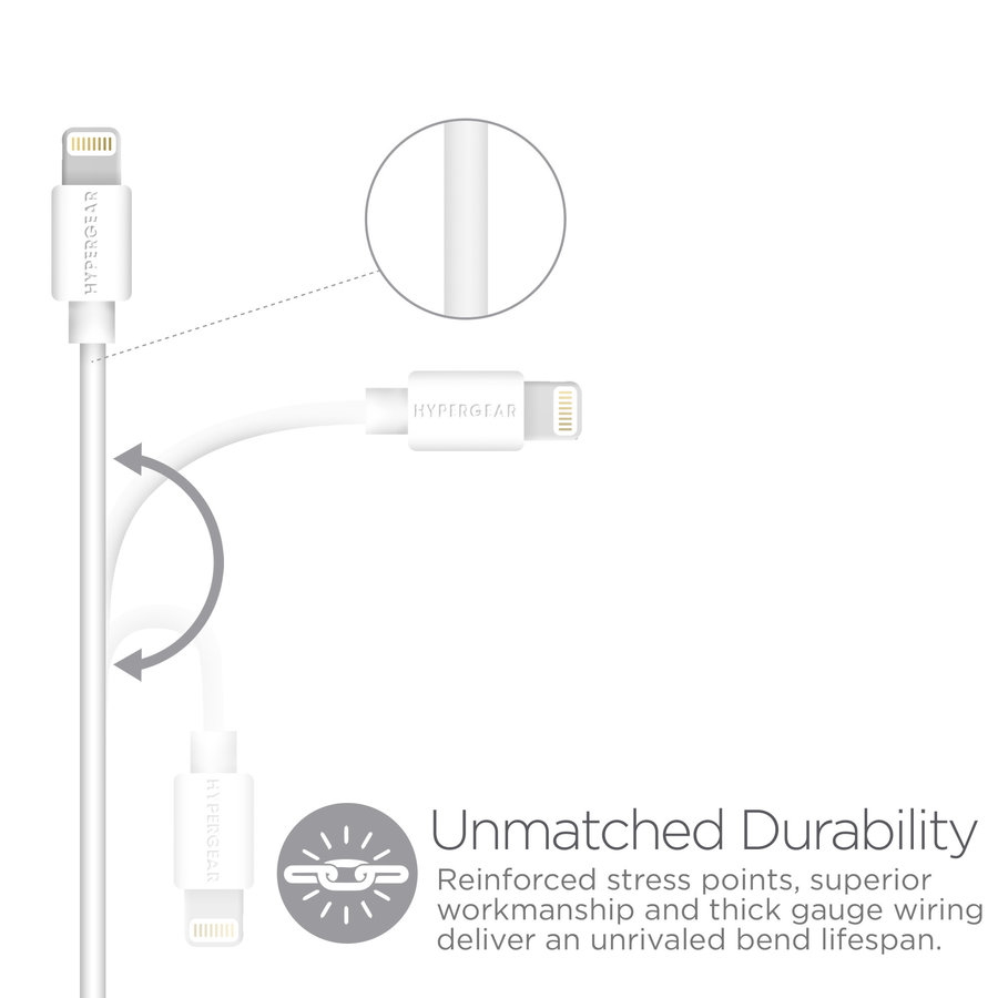 MFi Lightning 4ft. Charge & Sync Cable-White