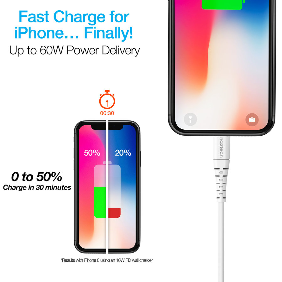 Fast Charge MFi Lightning to USB-C Cable 4ft-White