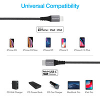 Braided Fast Charge MFi Lightning to USB-C Cable - Black