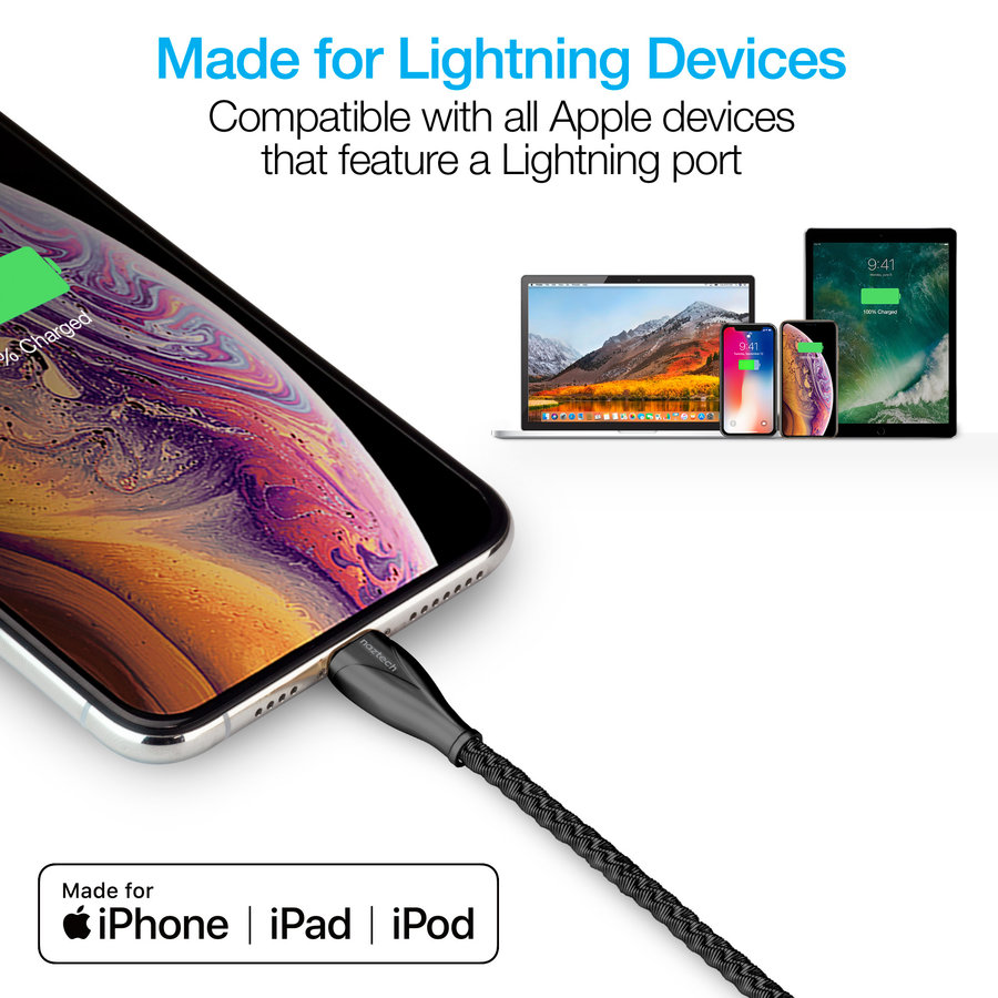 Elite Series MFi Lightning Charge & Sync Cable-Black