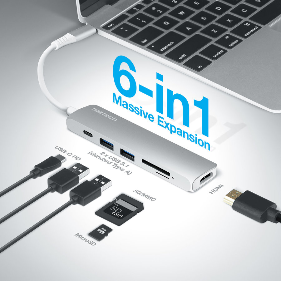 All-in-One USB-C Adapter Hub - Silver