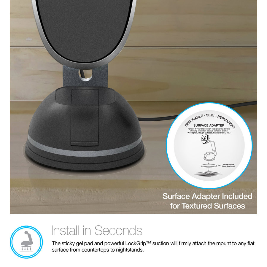 MagBuddy® Wireless Charge Desk Mount - Gunmetal
