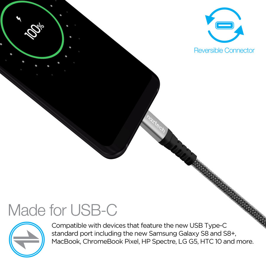 USB-C to USB-C Durable Braided 4ft. Charge & Sync Cable-Black