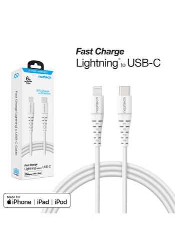Fast Charge MFi Lightning to USB-C Cable 6ft-White