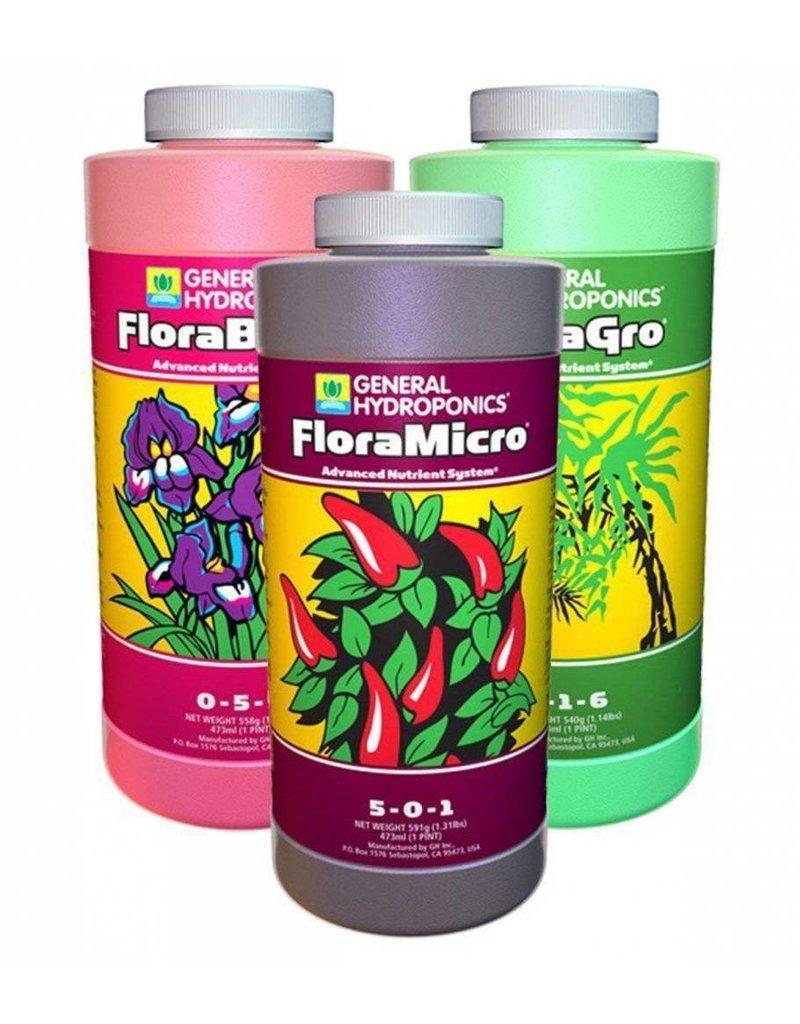 General Hydroponics General Hydroponics FloraGro, FloraBloom, FloraMicro Combo Fertilizer Set, 1 pint each