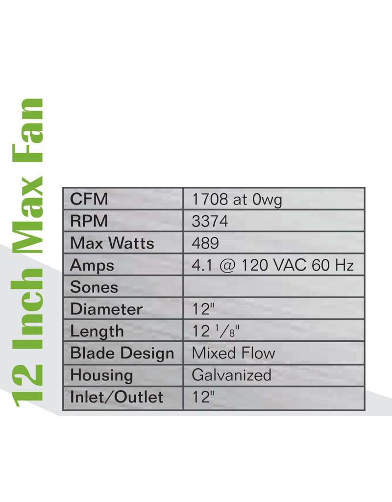 """Can 12"""" Max-Fan, 1709 CFM"""