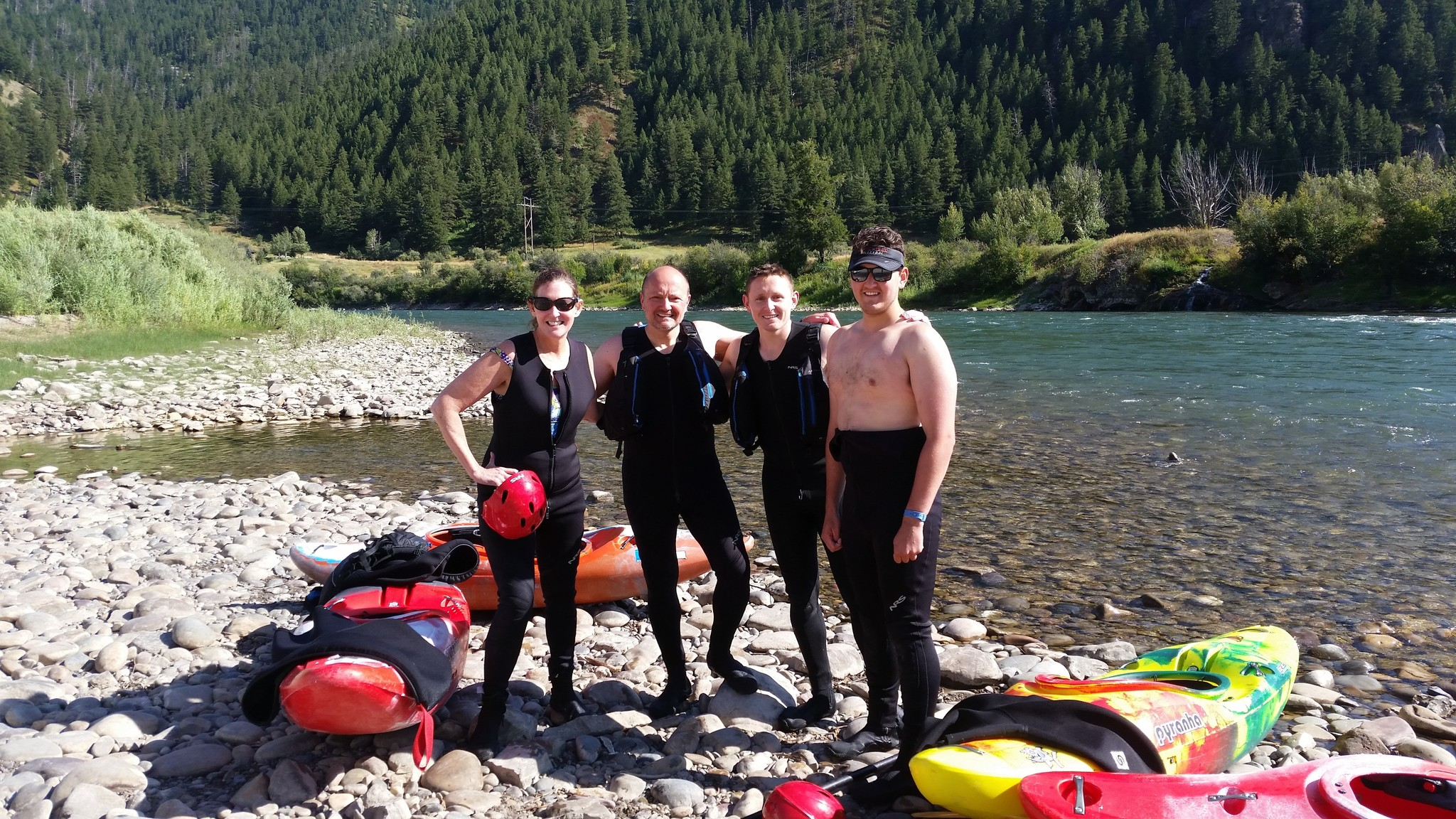 A private whitewater kayaking class on the Snake River