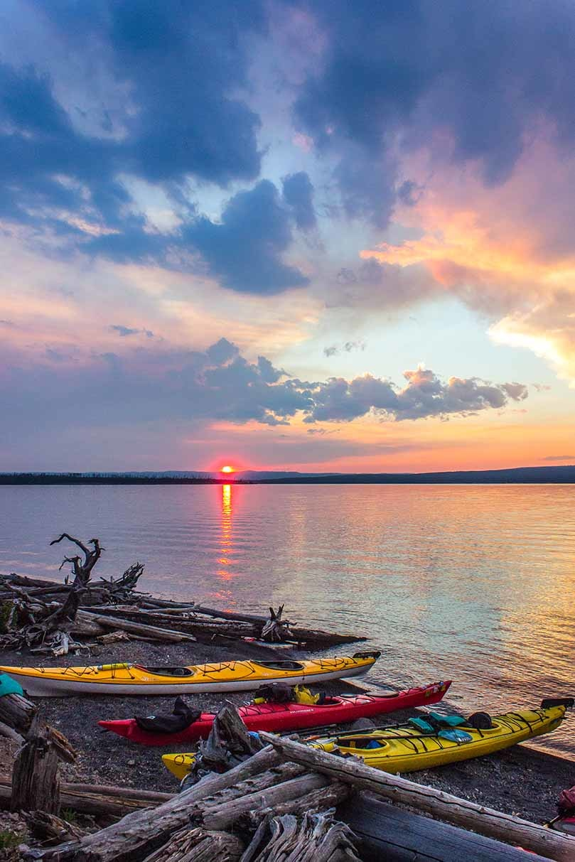 kayaks On yellowstone lake