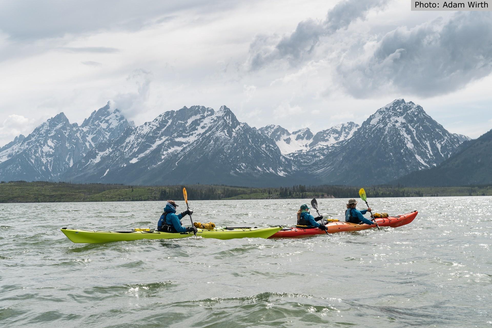Jackson lake tetons with kayaks