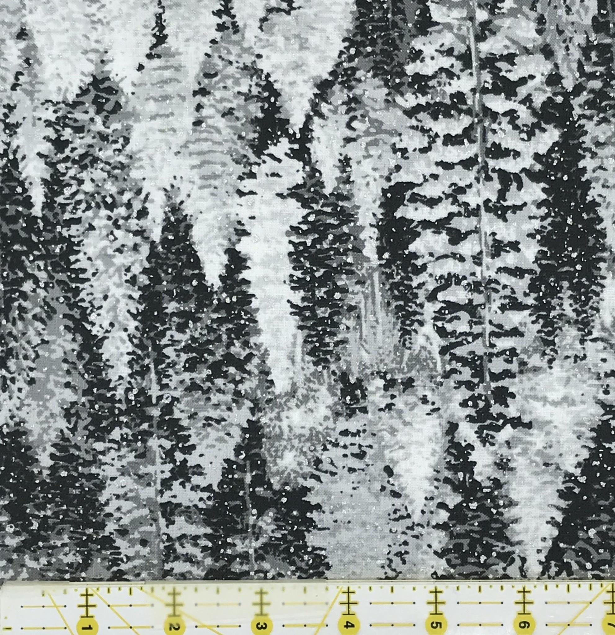 ROBERT KAUFMAN NATURE'S WINDOW, METALLIC WINTER GREY TREES $.21CM OR $21/M NOW 12