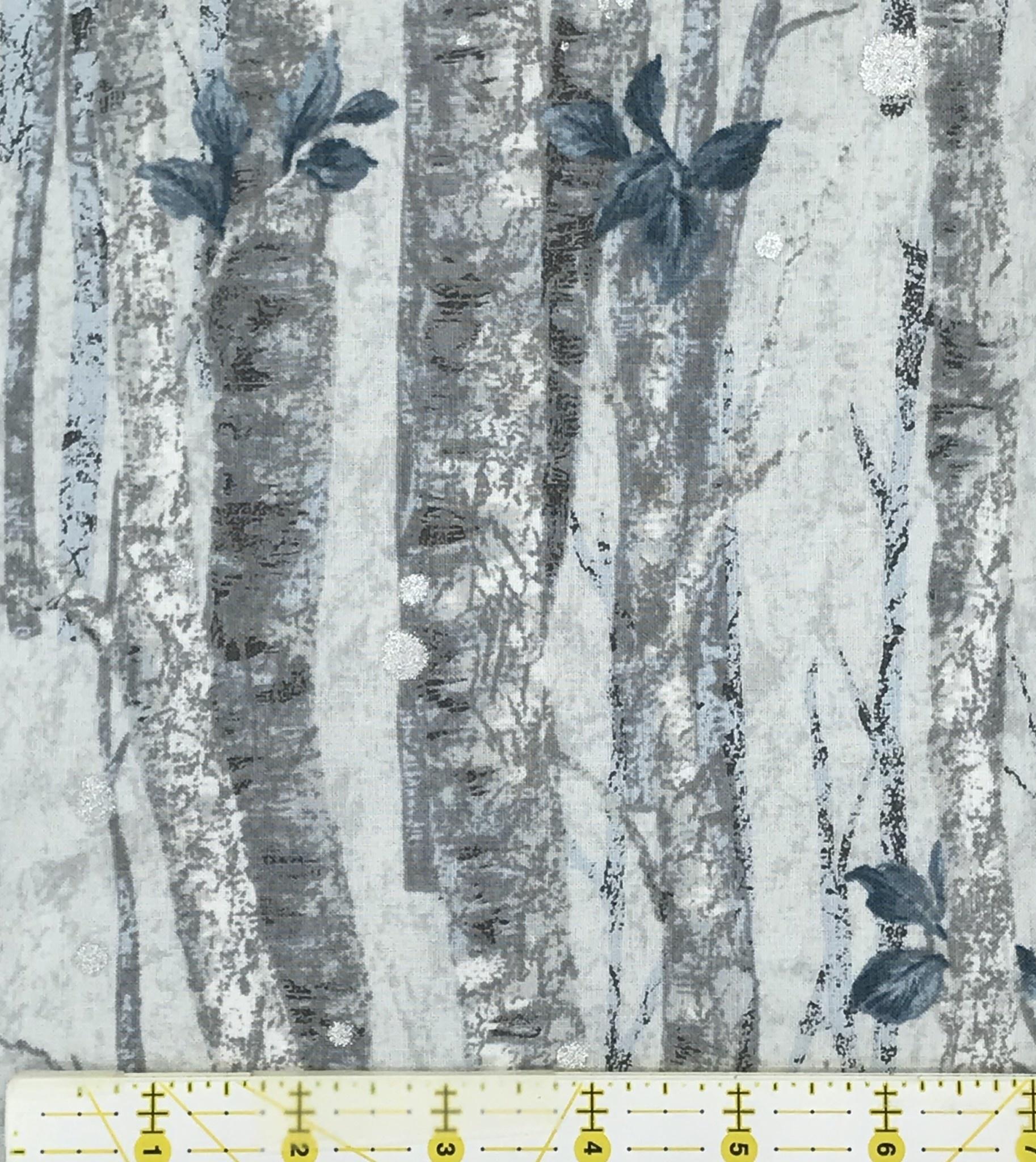 ROBERT KAUFMAN NATURE'S WINDOW METALLIC,  BIRCH TREES (BLUE) $0.21CM OR $21/M NOW 12