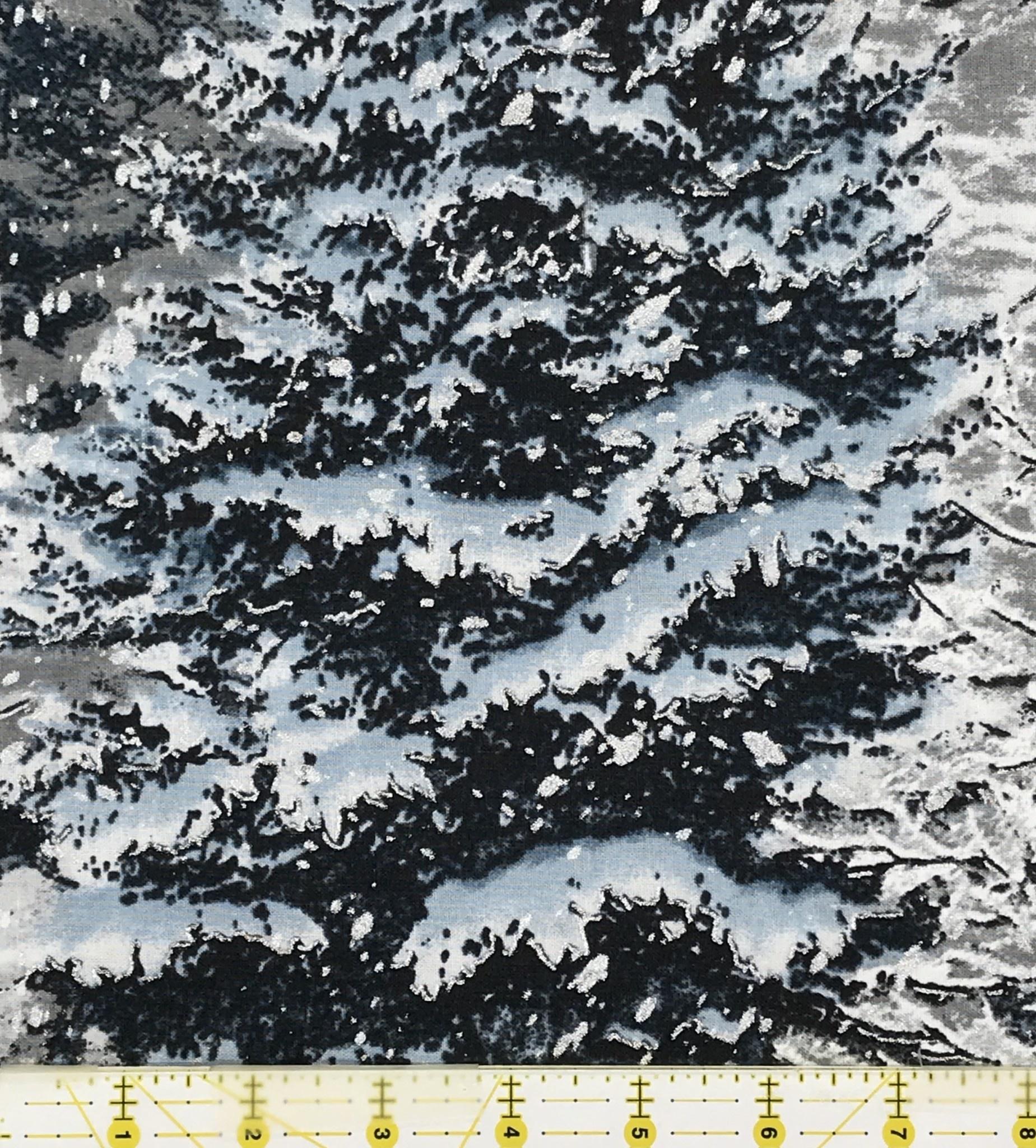 ROBERT KAUFMAN NATURE'S WINDOW METALLIC, BLUE SPRUCE NOW 12
