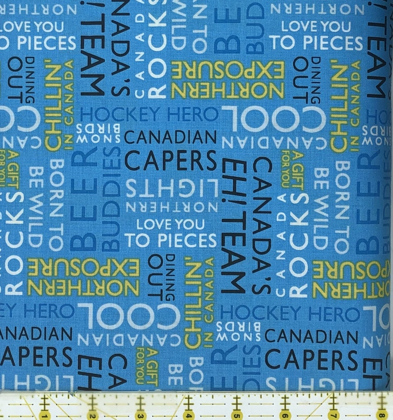 WILMINGTON PRINTS CANADIAN CAPERS WORDS ON BLUE 495, PER CM OR $21/M