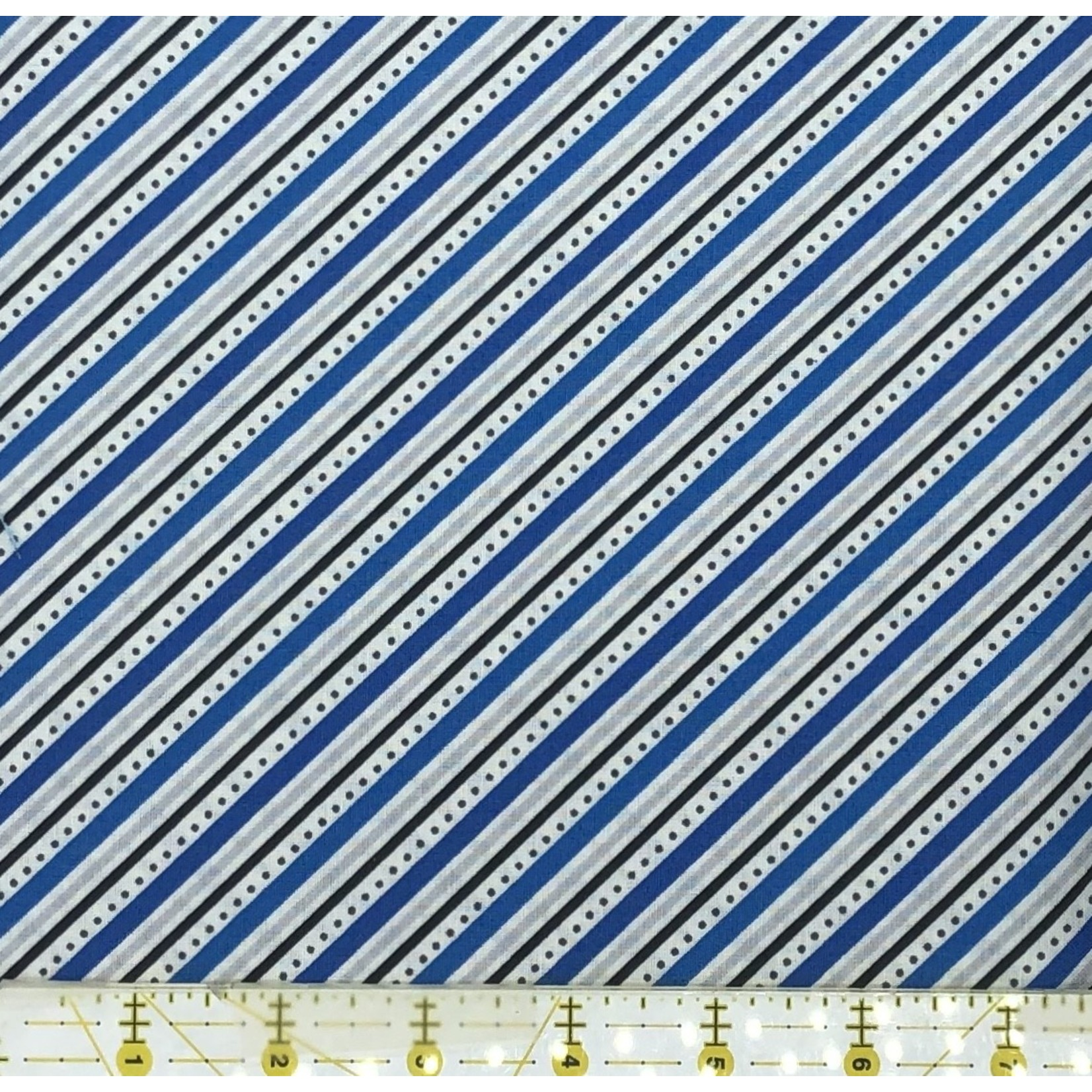 Wilmington Prints PER CM OR $21/M CANADIANISMS BLUE STRIPE 149