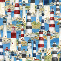 WILMINGTON PRINTS PER CM OR $21/M HARBOUR LIGHTS by CYNTHIA COULTER 491 Lighthouses