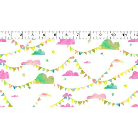 Clothworks PER CM OR $20/M - You Me and the Trees - Y2808-74 Pink Clouds Pennants