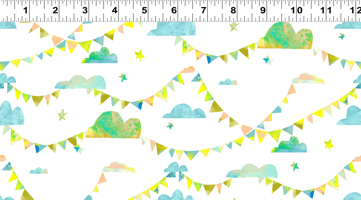 Clothworks PER CM OR $20/M - You Me and the Trees - Y2808-97 Teal/Blue Clouds Pennants