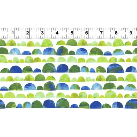 Clothworks PER CM OR $20/M - You Me and the Trees - Y2810-24 Green and Blue 1/2 circles