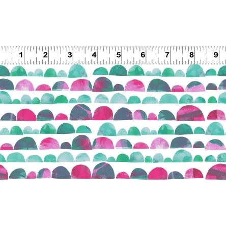 Clothworks PER CM OR $20/M - You Me and the Trees - Y2810-75 Teal and Pink 1/2 circles