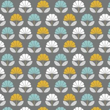 DASHWOOD Nesting Birds Flowers on Dark Grey PER CM or $20/m
