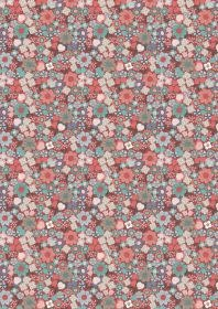 LEWIS & IRENE Michaelmas Tiny Red Floral on Red PER CM or $13/m