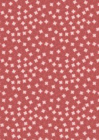 LEWIS & IRENE Michaelmas Flowers and Vines White on Red PER CM or $13/m
