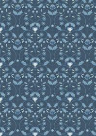 LEWIS & IRENE Michaelmas Large Deco Floral Blue PER CM or $13/m