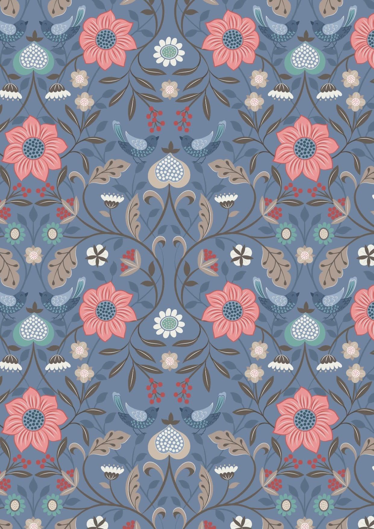 LEWIS & IRENE Michaelmas Birds and Flowers Multi on Blue PER CM or $13/m