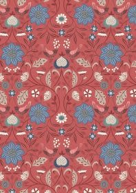 LEWIS & IRENE Michaelmas Birds and Flowers Multi on Red PER CM or $13/m