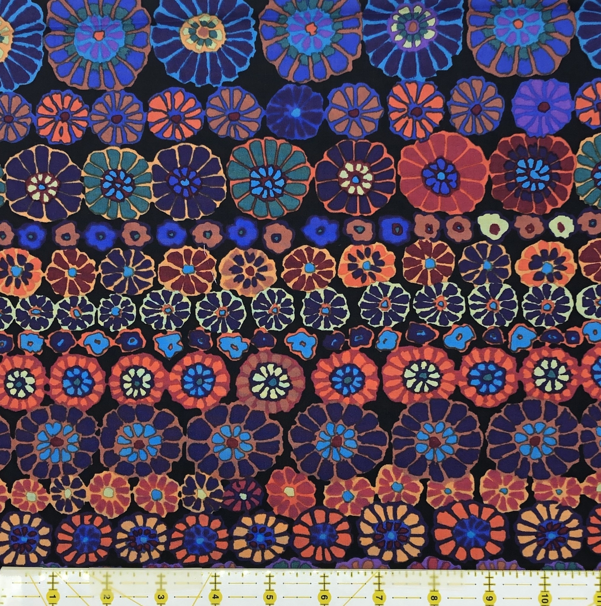 KAFFE FASSETT KF Collective ROW FLOWERS DARK,  per cm $18/m NOW 12