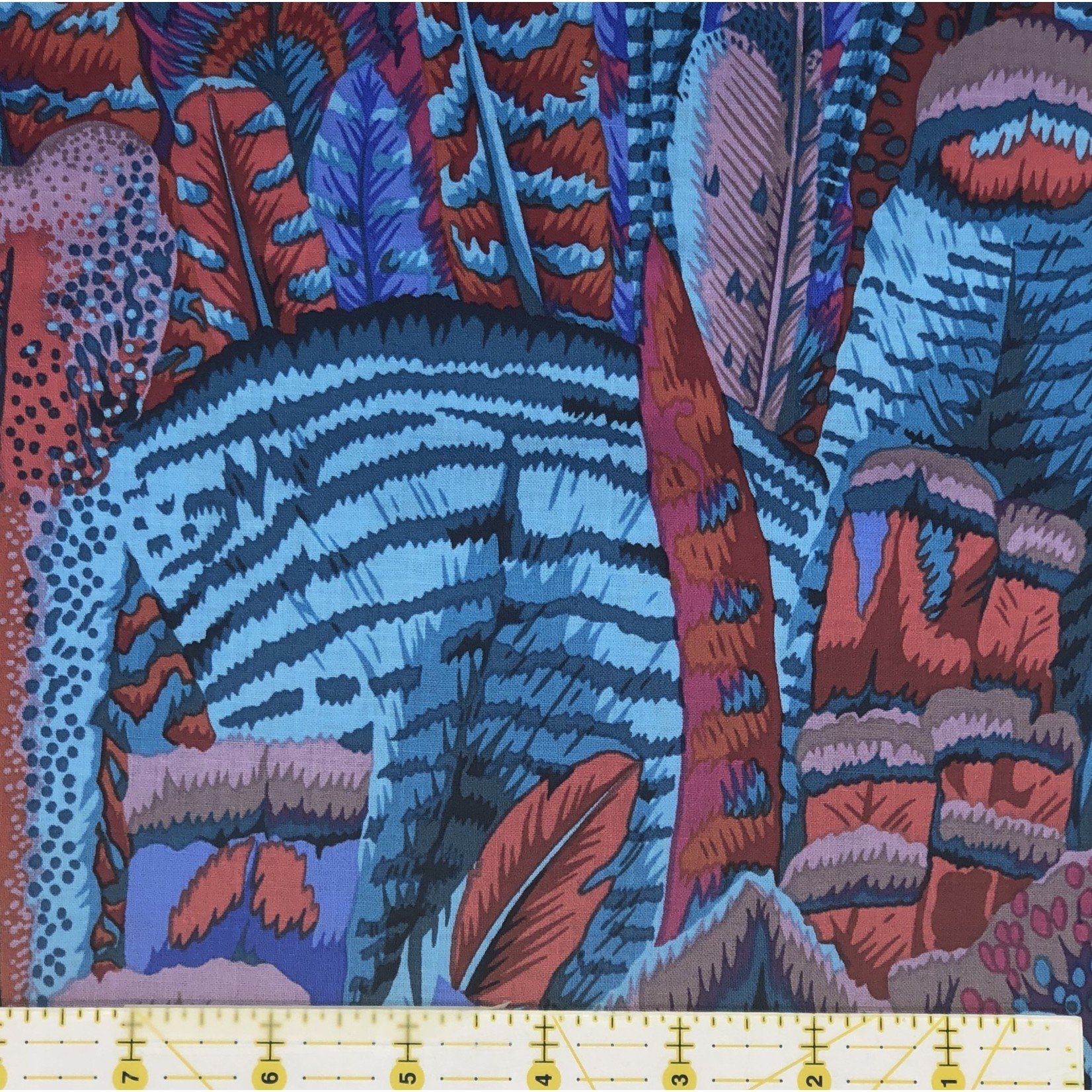 KAFFE FASSETT KF Collective FEATHERS TURQUOISE,  per cm $18/m