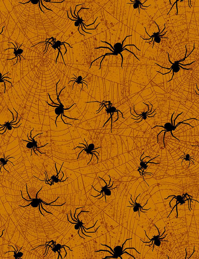 TIMELESS TREASURES Boo Crew Spiders on Orange