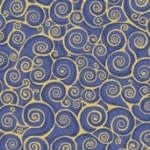 MAKOWER RHAPSODY GOLD SCROLL MID BLUE $.20/CM OR $20/M