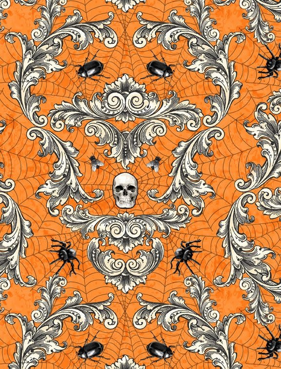 WILMINGTON PRINTS Gone Batty Flourishes, Spiders, Bugs, Skulls