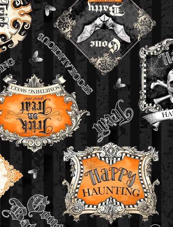 WILMINGTON PRINTS Gone Batty Halloween Sayings Stripe