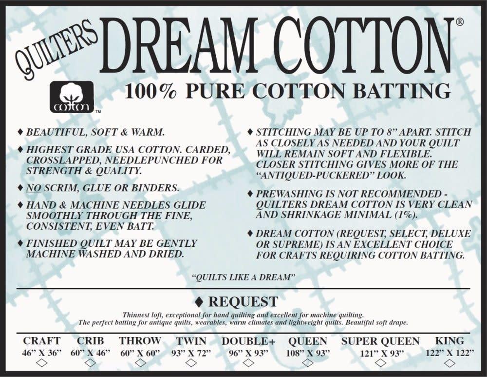 DREAM COTTON DREAM COTTON REQUEST TWIN NATURAL BATTING