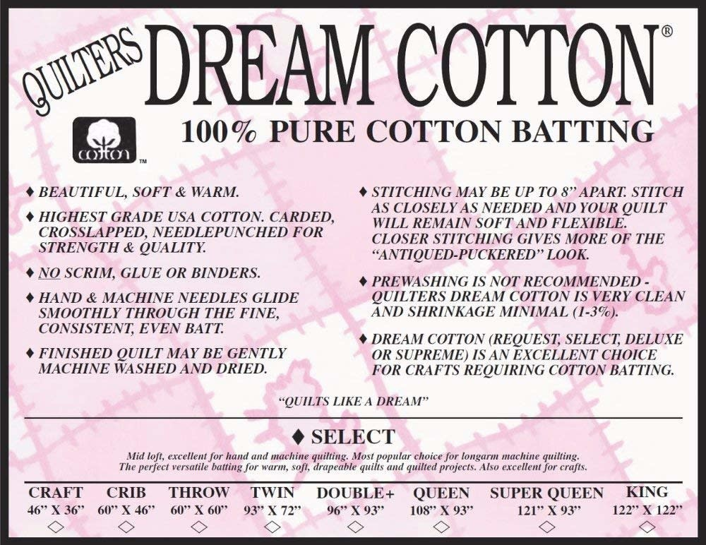 """DREAM COTTON Roll DREAM COTTON SELECT BATTING WHITE 121"""" WIDE .28/CM OR $28/M"""